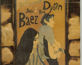 Joan Baez & Bob Dylan in Concert 1965 - Wooden Plaque
