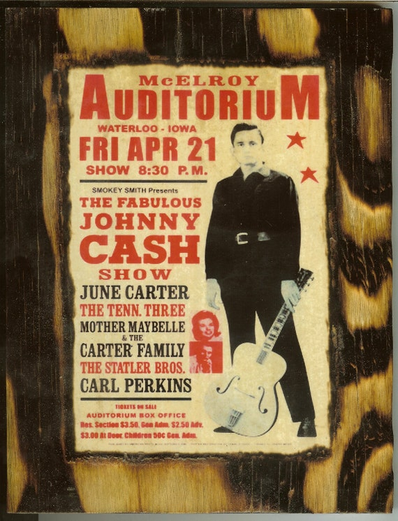 johnny cash concert poster wooden plaque by wiesbaden49 on etsy. Black Bedroom Furniture Sets. Home Design Ideas