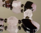 CANDY STORE  --  Chunky Agate and Rose Quartz chunky Necklace by mags and denny  N1160