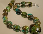 Fashion Jewelry --  Chunky Turquoise Necklace with Turquoise Pendant --  Something Old  N1268