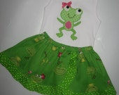 SALE Girly Frog 2pc Curved Peek a Boo Skirt Set Appliqued Froggy Tank Top Size 2T Ready to Ship Boutique Girly Girl Originals
