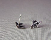 Sterling Silver Bee Earrings • Bee Jewelry Nature Inspired • Post Earrings • Stud Earrings