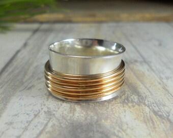 Sterling Gold Spinner Ring Gold Fiddle Ring SR123