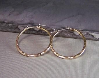 Simple Gold Earrings - Gold Hoop Earrings, Lever Back Earrings