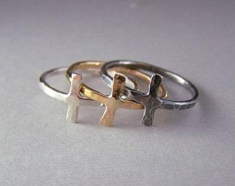 Silver Cross Ring - Sideways Cross Jewelry, Christian Inspired Jewelry