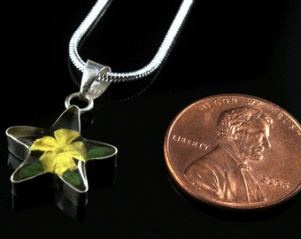 Sterling Silver Mianiature Pressed Yellow Flower Star Heart Pendant