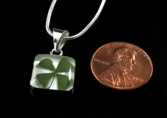 Sterling Silver Pressed Four Leaf Clover Square Pendant
