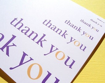 Thank You Cards in Purple and Gold