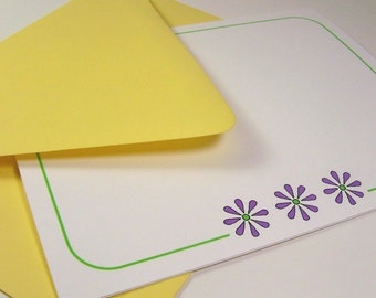 Folded Note Card Set - Purple Flowers