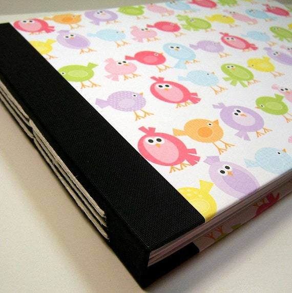 Personalized Baby Shower Guest Book // Colorful Birdie Pattern // Five Cover Paper Options