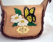Small Hand Tooled Leather Purse Featuring Butterfly