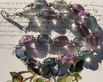 "fluorite nugget and sterling ""Rain"" necklace"