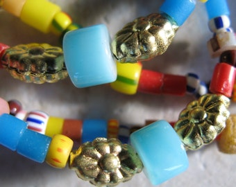African Christmas bead and brass confetti necklace