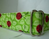 Warm Wags 1.5 Inch Green OR Yellow Lucky Ladybugs Martingale Collar