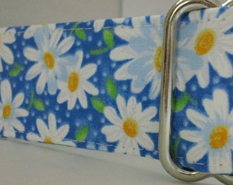 Warm Wags 1.5 Inch Wide Pink OR Blue Daisy Martingale Collar-- Your choice