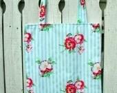 LilyJane Aqua and Red Floral Stripe Tote Bag