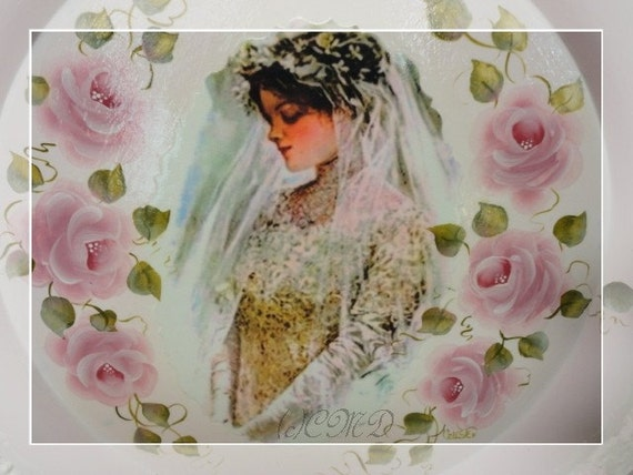 Vintage Tray, Hand Painted with Roses and Bridal Graphic, CSST, ECS