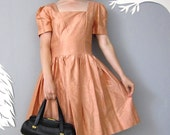 vintage 80's PEACH silk party dress M