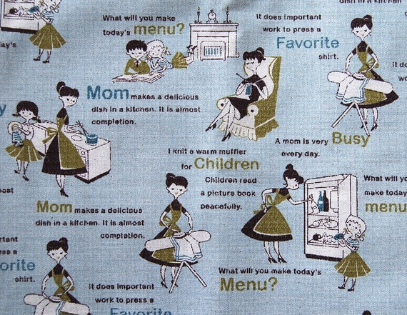 LAST Kokka Mom and Text in blue Fat Quarter