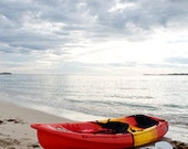 Photograph red kayak Australian beach fine art print. 6x4 in 8x10 mat. Serenity water solo clouds. Printed to order.
