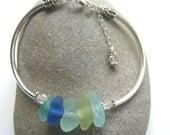 SUN AND SEA Sea Glass Beaded Sterling Silver Cuff Bracelet