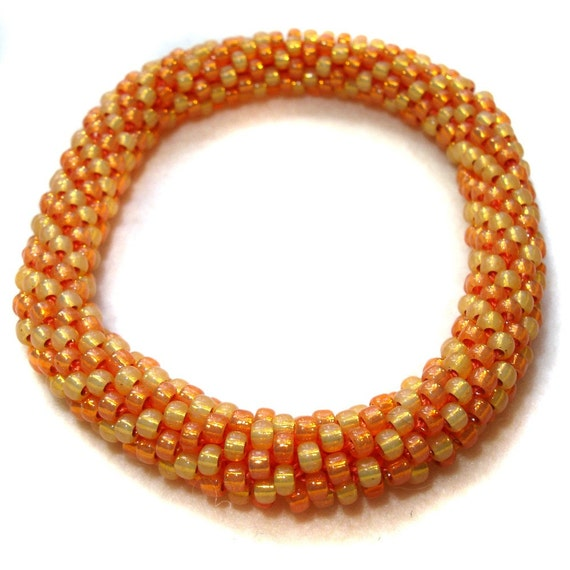 Crocheted Bangle Bracelet - Peaches and Cream