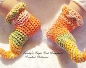 Crochet  Long Elf Hat and Elf Booties Crochet Pattern PDF 110