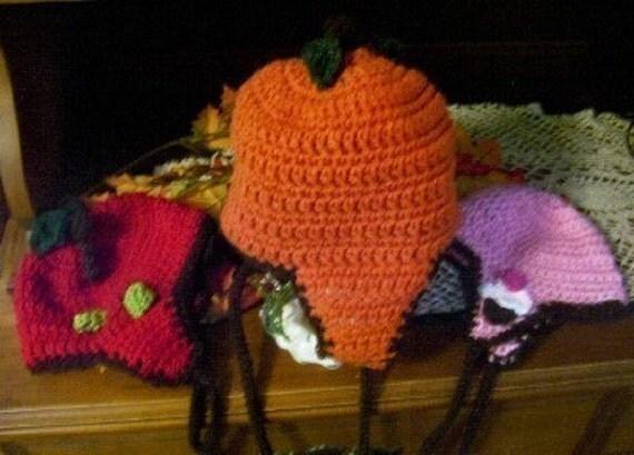PDF Crochet Pattern for 3 Fun Versions of a Beanie Ear Flap Hat