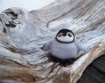 Needle Felted Baby Emperor Penguin