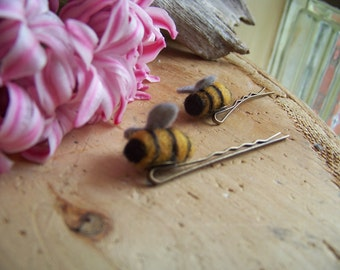 Needle Felted Bumble Bee Bobby Pins