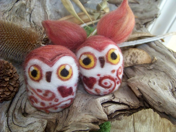 Needle Felted Valentines Day Owl-Great Horned or Saw Whet