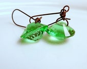 Area 51 Green Vintage Glass Saucer Earrings