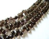 Faceted Smoky Quartz Teardrop Briolette Beads, 7.5-8.5mm, 20 Beads