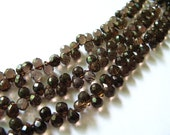 RESERVED FOR ELOISE - Faceted Smoky Quartz Teardrop Briolette Beads, 7.5-8.5mm, 20 Beads