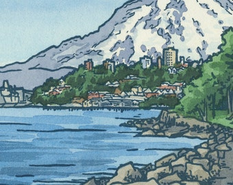 RUSTON WAY WATERFRONT original hand colored letterpress print featuring Mt. Rainier