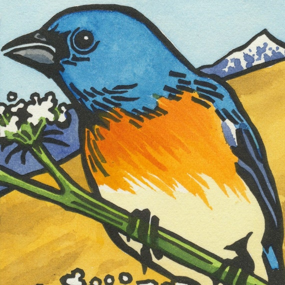 LAZULI BUNTING blank bird greeting card