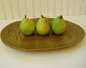 Stoneware Serving Platter in Warm Olive Green