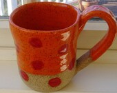 Custom Order - Orange with Red Dots Stoneware Mug
