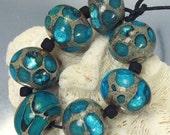 Lampwork Glass Beads Set, Ocean Blue