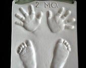 White Heirloom Ceramic Quad Hand/Footprint OUTPRINT 3D plaque by Mail Order with mold kit included