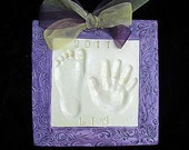 Baby or Child3D OUTPRINT Hand and Footprint Plaque with Ornate Border-Molds Included
