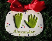 Reserved Listing- Handprint/Footprint Ceramic Plaque Complete by Mail Kit-Medium and 3 cut around ornaments for Hilary with size upgrade