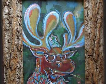 Hipster Moose with Handmade Natural Frame