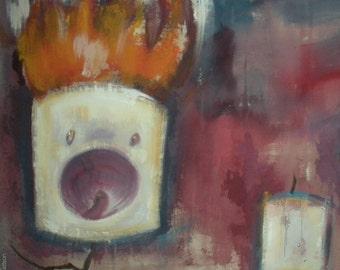 Three Marshmallows, One on Fire Original Painting