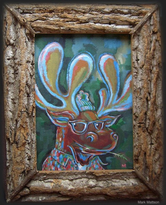 Hipster Moose with Handmade Natural Frame