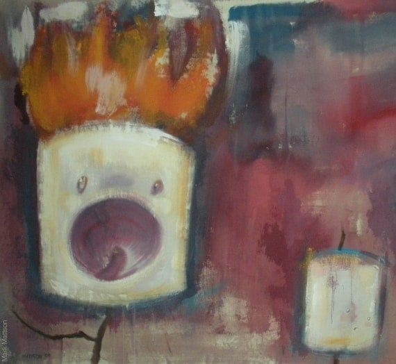Three Marshmallows, One on Fire Original Painting