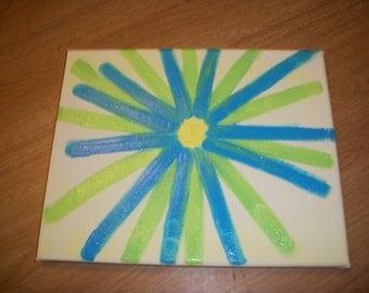 Large Blue and Lime Sunburst Flower Painting