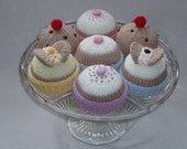 Knitted cakes - knitting pattern by email - butterfly cakes, fairy cakes and currant buns