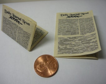 miniature newspapers 1/12 scale dollhouse, doll house, knick knack shelf, printers drawer, scrapbooking