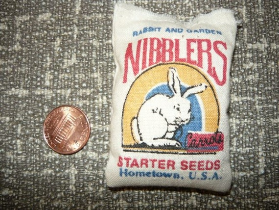 Doll House Miniature Feed Bag Sack Rabbit and Garden Nibblers Starter Seeds 1/12 scale